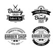 Set of vintage barber shop logo and beauty spa salon badges.