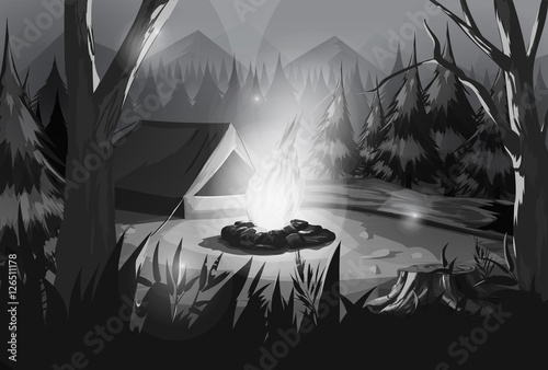 Poster Fantasy Landscape Illustration of camping in the forest