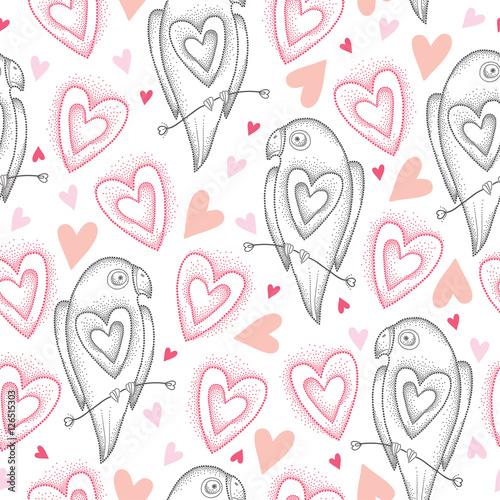 Materiał do szycia Wektor wzór z kropkami papugi i różowe serca na białym tle. Projektowanie elementów i symboli wakacje w stylu dotwork. Elegancja tło z papuga i serca na Walentynki.