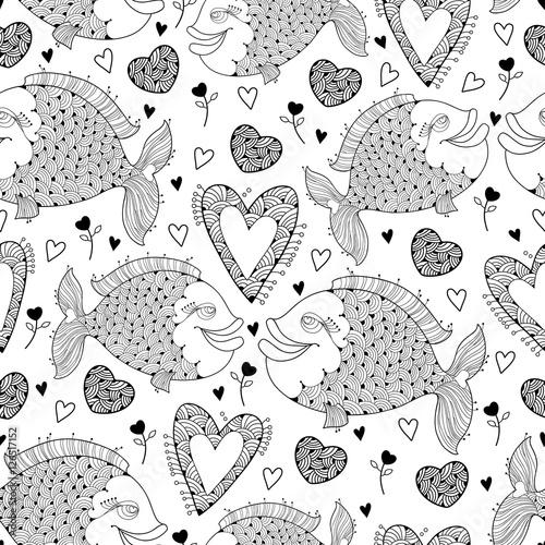 Materiał do szycia Wektor wzór z ryb i kwiecisty serca na białym. Projektowanie elementów i symboli wakacje w stylu konturu dla Walentynki i kolorowanka. Romantyczny tło z cute ryby w miłości.