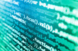 Desktop PC monitor photo. Internet security hacker prevention. Big data database app. WWW software development. SEO concepts for better SERP. Programming code abstract screen of software developer.