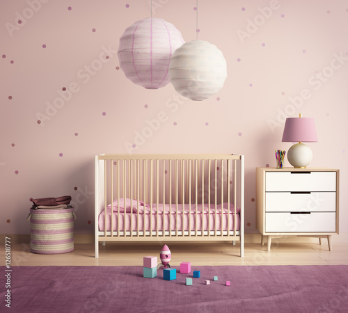 Fotografía  Modern nursery room with pink and violet accents