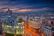 Madrid. Cityscape image of Madrid, Spain during sunset.