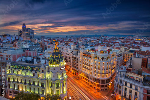 Canvas Prints Madrid Madrid. Cityscape image of Madrid, Spain during sunset.