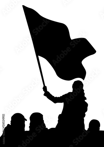 People of with large flags on white background Canvas Print