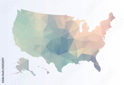 Fotografie, Obraz  Polygonal map of Usa