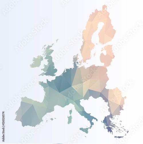 Obraz na plátně Polygonal Euro map