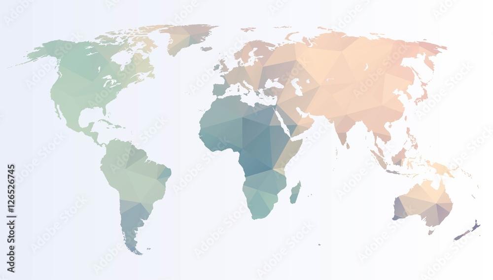 Fototapety, obrazy: Polygonal world map