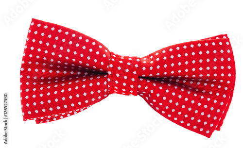 Canvas Print red with white polka dots bow tie