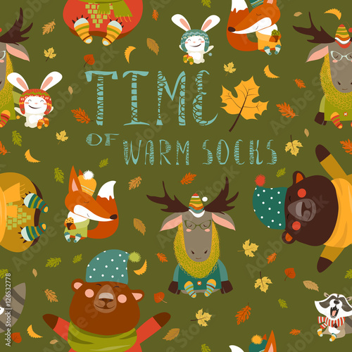Fényképezés  Autumn forest seamless pattern with cute animals