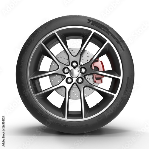 Automotive wheel on light alloy disc isolated. 3D illustration Fototapet