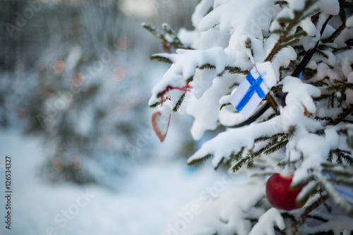 Finland Christmas Holiday Greetings Card Christmas Tree Covered