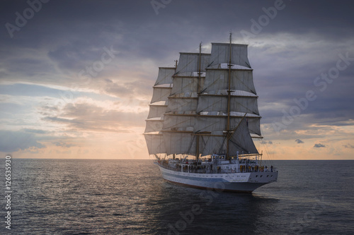 Ancient sailing ship in the sea © astreluk