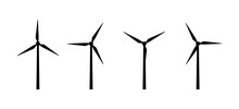 Vector Silhouettes Of Wind Tur...