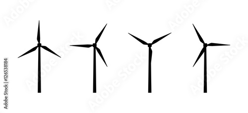 Obraz Vector silhouettes of wind turbines - fototapety do salonu