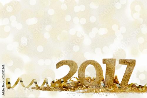 Fotografie, Obraz  nouvel an 2017 dans confetti et ruban doré