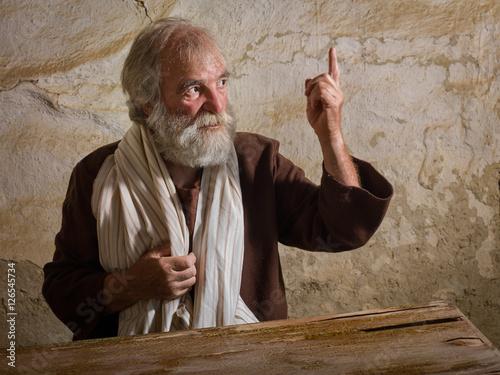 Leinwand Poster Bärtiger Prophet in der biblischen Szene
