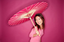 Woman With Umbrella, Standing ...