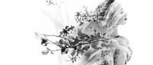 Monochrome Double Exposure Of Happy Girl Dancing And Leaves
