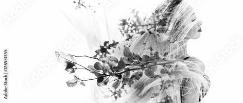 Monochrome double exposure of happy girl dancing and leaves Tableau sur Toile