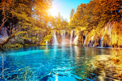 Tuinposter Watervallen Plitvice Lakes National Park