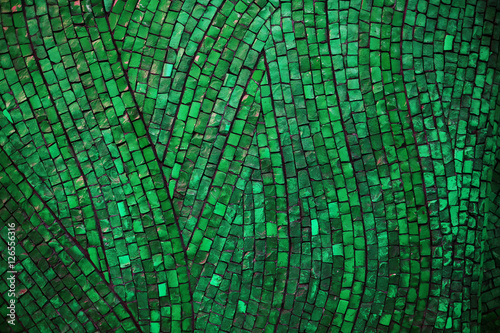 Carta da parati green mosaic texture on the wall