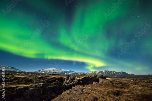 Foto auf Leinwand Nordlicht Aurora borealis over the Thingvellir National Park - Iceland