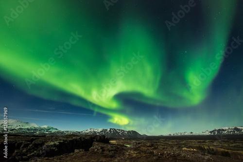 Foto auf Gartenposter Nordlicht Aurora borealis over the Thingvellir National Park - Iceland