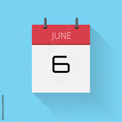 June 6 Daily Calendar Icon Date And Time Day Month Holiday