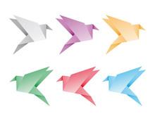 Origami Vogel Aus Papier In 6 Farben