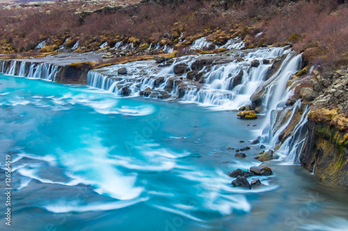 Canvas Prints Cappuccino Hraunfossar and Barnafossar Waterfall in Iceland