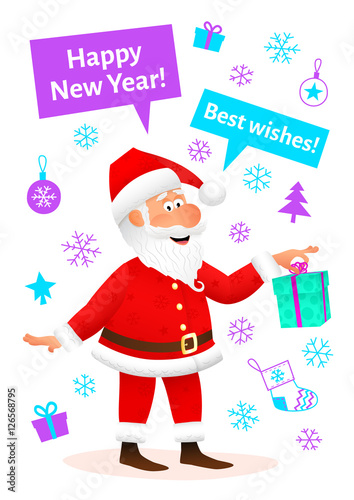 new year celebration card flat funny old man character holding gift on new year background