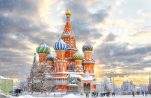 Moscow, Russia, Red Square, View Of St. Basil's Cathedral, Russian Winter