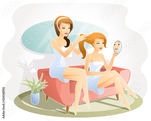 Valokuva  makeup /Young ladies doing body care and makeup