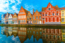 Medieval Buildings Along A Canal In Bruges, Belgium