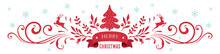 Merry Christmas Horizontal Banner With Ornate Decoration, Snowflakes And Deers. Vector Illustration.