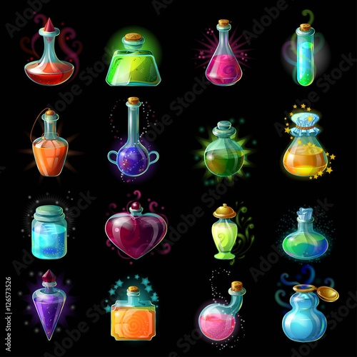 Fototapeta Magic Bottles Icon Set obraz