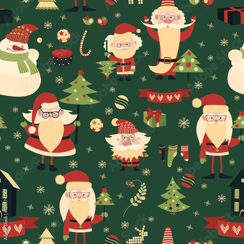 Cotton fabric Merry Christmas and Happy New Year seamless pattern