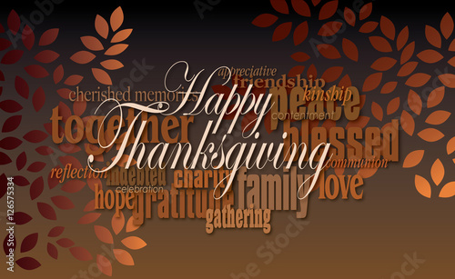 Happy thanksgiving word montage with leavesgraphic digital word happy thanksgiving word montage with leavesgraphic digital word montage illustration for possible use as m4hsunfo