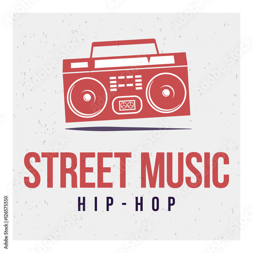 Zdjęcie XXL Red tape Boombox on a gray background and the words: street music and hip-hop. Vector image. The concept of street art. Vintage. Can be used as graffiti, prints, posters, printed materials.