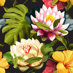 Panel Szklany Kwiaty Lotus flowers and water lily with leaves. Set of design elements. Can be used in design, appearance, cards, wreath and etc. Hand drawn. All elements are separated and easy to move. Vector - stock.