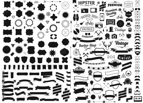 set of vintage styled design hipster icons vector signs and symbols