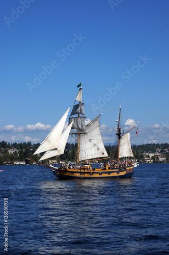 The ketch, Hawaiian Chieftain, sails on Lake Washington © cascoly2