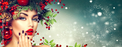 Poster - Christmas fashion model woman. Holiday hairstyle and makeup