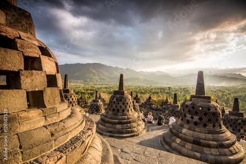 Foto op Aluminium Indonesië sundown at borobudur temple, indonesia