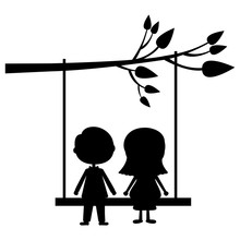 Couple Male And Female Silhouette On Tree Swing Icon Image Vector Illustration Design