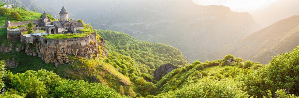 Fototapety, obrazy: Ancient monastery in setting sun. Tatev. Armenia