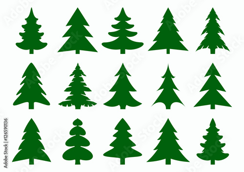 Fotografie, Tablou Set of green fir-tree and pines silhouettes isolated on white background