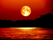 Full Blood Moon And Moonlight On River, Elements Of This Image Finished By NASA