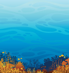 Fototapeta na wymiar Underwater coral reef and fish. Marine wild life.